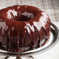 Easy Chocolate Kahlua Bundt Cake - Chew Out Loud- halve recipe for 6 cup Bundt* Triple Chocolate Mousse Cake, Chocolate Bundt Cake, Flourless Chocolate Cakes, Chocolate Morsels, Chocolate Pudding, Baking Chocolate, Chocolate Chocolate, Moist Yellow Cakes, Yellow Cake Mixes