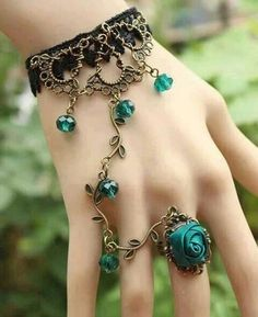 Artilady hand harness rose flower 2013 fashion vintage link finger ring slave chain ring bracelet Women jewelry free shipping $4.95