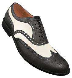 1950s Mens Black and White Wingtip Shoes http://www.vintagedancer.com/1950s/1950s-mens-clothing/