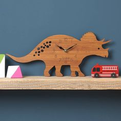 Personalised Childrens Dinosaur Clock Triceratops