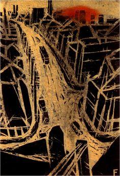 Yoshio Fujimori: Red Sun, 1934. Woodblock print.