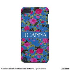 Pink and Blue Country Floral Pattern Monogram iPod Touch 5G Case
