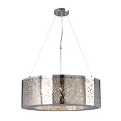 Lowe's | Galaxy Venta 23.5-in W Polished Chrome Crystal Accent Hardwired Standard Pendant Light with Metal Shade