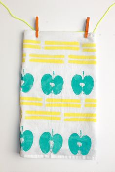DIY Geometric and Fruit Stamped Dishtowels