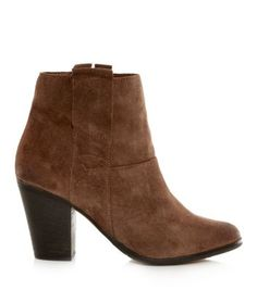 Tan Suede Side Zip Ankle Boots