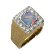1970s Andrew Grima Opal Textured Gold Ring | From a unique collection of vintage fashion rings at https://www.1stdibs.com/jewelry/rings/fashion-rings/
