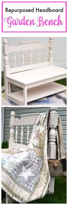 DIY Garden Bench - rrepurposed a headboard into a garden bench