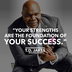 It's common and easy to focus on your weaknesses - when instead we can CELEBRATE OUR STRENGTHS! What are your strengths? Share in the comments. Td Jakes, Sharing Quotes, Focus On Yourself, New Shows, To Focus, Words Of Encouragement, Wise Words, Inspirational Quotes, Motivational