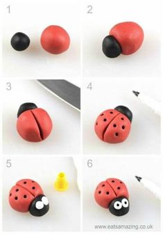 How to make an easy fondant ladybird - fun icing bug toppers for decorating cake. - How to make an easy fondant ladybird - fun icing bug toppers for decorating cake. How to make an easy fondant ladybird - fun icing bug toppers for d. Fondant Toppers, Cake Decorating Techniques, Decorating Cakes, Decorating Ideas, Cake Decorating With Fondant, Cake Decorating Tutorials, Cookie Decorating, Fondant Animals, Fondant Flowers