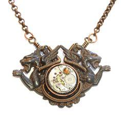 Steampunk Bijoux Collier Dragons médiévaux par CatherinetteRings
