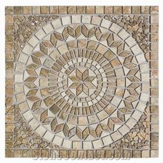 Medallion Tumbled Scabos- Light Travertine from Turkey, the Details Include Pictures,Sizes,Color,Material and Origin. You Can Contact the Supplier - Kaldera Stone Inc. Mosaic Crafts, Mosaic Projects, Mosaic Art, Floor Patterns, Tile Patterns, Emperador Marble, Bottle Cap Table, Stone Supplier, Mosaic Designs