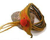 Felt Art Necklace - Wool Dreads Scarf - Felted Wool Strings Neckpiece - Multistrand Nacklace - Merino Wool Accessory