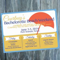 Bachelorette Beach Weekend Invitation  by TwoOneSixCreative, $14.00