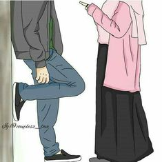 Insahallah my also Love Cartoon Couple, Cute Couple Art, Anime Love Couple, Girl Cartoon, Cute Muslim Couples, Muslim Girls, Cute Anime Couples, Muslim Women, Image Couple