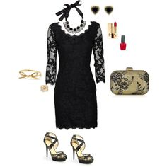 """""""Black lace dress (Lace with lace)"""" by silhouetteimage on Polyvore"""