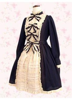 Black Bow Long Sleeves Cotton Punk Lolita Dress
