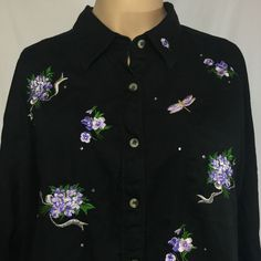Lovely purple accents on this black Quacker Factory QVC Button Front Embellished Floral Dragonfly Shirt Fashionable Plus Size Clothing, Purple Accents, Black Button, Qvc, Plus Size Outfits, Buttons, Floral, Shirts, Clothes