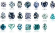 Blue Diamond Color scale by Leibish & Co /  second from the right, bottom row, and far right of middle row.  :)