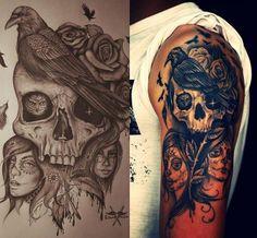 Skull and raven tattoo: Tattoo Ideas Tattoos Piercings 3 Skull . Bone Tattoos, Weird Tattoos, Girly Tattoos, Great Tattoos, Skull Tattoos, Forearm Tattoos, Body Art Tattoos, Sleeve Tattoos, Tattoos For Guys