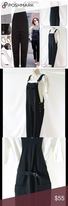 """Alex & Garfield Black Overalls, Medium This is a great pair of pre-owned (in superb condition) black overalls for women in size Medium.  Made in USA by Alex and Garfield of Garfield and Marks.  70% acetate, 30% poly.  Inseam measures 29 inches (but starts a couple inches below crotch; I slipped them on and as a 5' 9"""" tall woman, they hit at my ankle).  Styling idea is to wear the leg hems rolled.  When flat, front side of leg hem measures 8.5 inches across in width. Very stylish; no signs of…"""