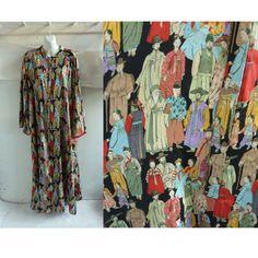 Vintage Natori Caftan Free Size Japanese People Angel Kimono Sleeve Dress  Plus