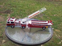 HUGE VTG 1992 TONKA FIRETRUCK FUNRISE PLASTIC 9 FLASHING LIGHTS AND SIREN TALKS #FUNRISE