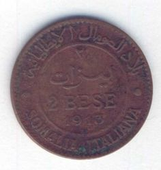 1913 Italian Somaliland 2 Bese - Very difficult to get