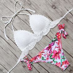 Crochet Top Bikini Set Sexy Style Bandge Bikini Set Swimwear Floral Biquinis Swimsuit Women Low Waist Maillot De Bain Femme Swimming Suit Fit:Fits true to size, take your normal size Pattern Type:Floral,Print Material:Others,Polyester With Pad:Yes