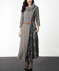 Look at this Charcoal Cable-Knit Cowl Neck Contrast-Panel Maxi Dress on #zulily today!
