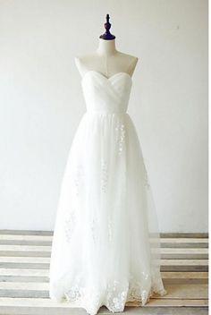 Sweetheart A-Line Beach Wedding Dress Bohemian Wedding Dress