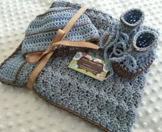 Baby Gift Set, Crochet Baby Blanket, Beanie Hat and Booties Gift Set, Spa Blue Fleck, Spa Blue and Nutmeg