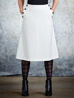 M&Co. Women Button trim a-line skirt