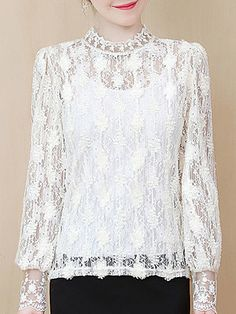 Band Collar See-through Lace Long Sleeve T-shirt Get the latest womens fashion online With of new styles every day from dresses, onesies, heels, & coats, # Stylish Dresses, Cheap Dresses, Nice Dresses, Ladies Dresses, Trendy Outfits, Fashion Dresses, Dressy Tops For Wedding, Womens Fashion Online, Latest Fashion For Women