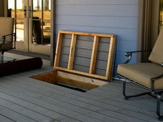 Hatch for under the deck storage for cushions, etc. Great to add if you are building or remodeling a deck