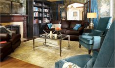 Pop of color and beautiful book shelves.  All easy to do when you build with www.Kendal-homes.com
