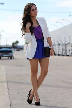 White blazer with color blocking.