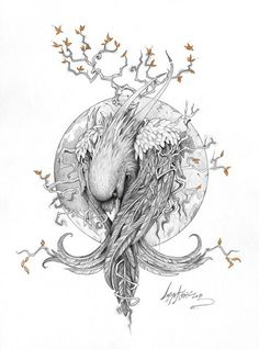 """The Raven"" by Lorena Assisi, via Behance Related Splendid Back of Neck Tattoo DesignsSimple tattoo designs to care for your love stitching on your skin. Kunst Tattoos, Tattoo Drawings, Body Art Tattoos, New Tattoos, Hand Tattoos, Sleeve Tattoos, Art Drawings, Art Et Illustration, Character Illustration"