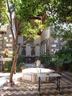 A lazy afternoon inside a Damascus courtyard. Damascus, Syria