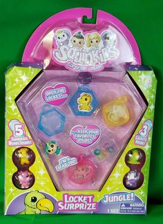 Retired Squinkies Locket Surprize Set. 5 Squinkies Beads. 5 Squinkies Containers. Featuring the Jungle Set 1054 Monkey. 1055 Giraffe. Included are. | eBay!
