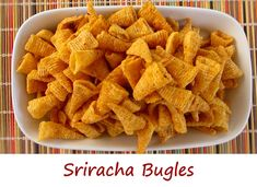Bugles are so yummy and addicting.Sriracha hot sauce is also yummy (spicy) and addicting. So I decided to combine the two into a single terribly good snack – Sriracha Bugles.