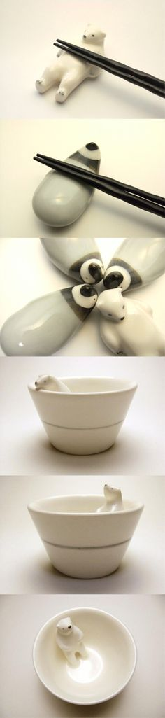 I do need somewhere to rest my chopsticks... Not as interested in the bowl. The polar bear is my favourite out of these, but other animals might be fun too. Dragons, rabbits...