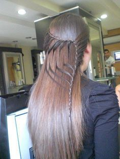 So cool. Its like a waterfall braid and a french braid mixed together and you pick up the strands from the waterfall braid after to continue the french braid!!!