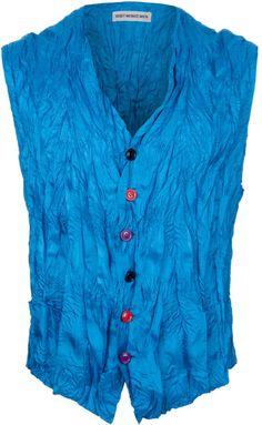 Vintage Wrinkle Effect Waistcoat in Blue for Men | Issey Miyake at Lyst