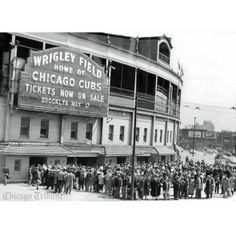 in love with this #vintage poster: 1949 Cubs vs. Pirates Home Opener at Wrigley Field