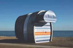 Completed in 2017 in Eastbourne, United Kingdom. Images by Nick Kane, Francesco Russo. The idea for the 'Spy Glass' was to build a structure that has all the nostalgia of an original beach hut with a new physical form that would pay. Kinetic Architecture, Amazing Architecture, Architecture Board, Studio 57, Bubble House, Facing The Sun, British Seaside, Beachfront Property, Products