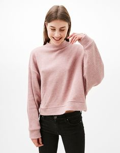 Oversized cropped ribbed sweater. Discover this and many more items in Bershka with new products every week