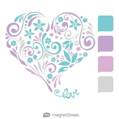 Turquoise, Lilac, Orchid, and Silver Wedding Color Palette - free custom artwork created at MagnetStreet.com