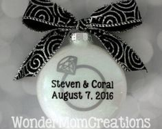 Engagement Ornament Engaged Ornament by PearTreePersonal on Etsy