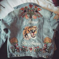 62827094f Gucci Denim, Gucci Jean Jacket, Gucci Tiger Jacket, Diy Embroidered Jacket,  Denim