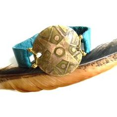 Etched Brass Star and Teal Leather Cuff // // Urban Eclectic Jewelry // Handmade in Tamarindo Costa Rica Tamarindo, My Boutique, Leather Cuffs, Costa Rica, Coin Purse, Jewelry Accessories, Handmade Jewelry, Teal, Brass